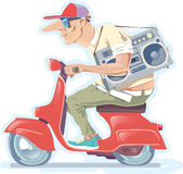 Man with the Boombox on a Scooter. Version 2.0. The bald-headed man in a hat with the old-style boombox is riding the red scooter Stock Photo