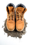 Man boot adventure on white isolated background Royalty Free Stock Photos
