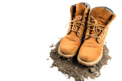 Man boot adventure on white isolated background Royalty Free Stock Images