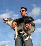 Man and border collie Stock Photography