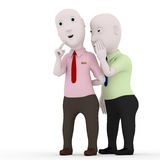 Man boss whispers. 3d man boss character whispers in white Royalty Free Stock Images