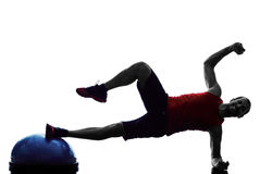 Man bosu balance trainer  exercises fitness Royalty Free Stock Photo