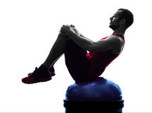 Man bosu balance trainer  exercises fitness silhouette Royalty Free Stock Photos