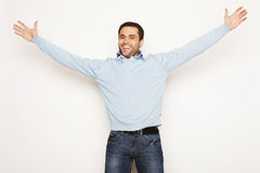 Man with both hands raised in the air. Stock Images