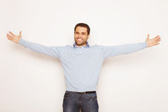 Man with both hands raised in the air. Stock Photography