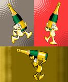 Man and bottle of champagne - Vector Illustration Set Stock Photography