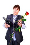 Man with a bottle and a rose Royalty Free Stock Photography