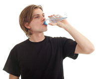 Man with bottle of water Royalty Free Stock Image