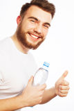 Man with  bottle of water Royalty Free Stock Images