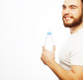 Man with  bottle of water Royalty Free Stock Photo