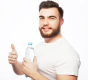 Man with  bottle of water Stock Photo