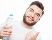 Man with  bottle of water Stock Images