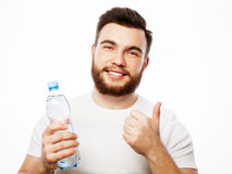 Man with  bottle of water Stock Photos