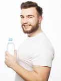 Man with  bottle of water Royalty Free Stock Photography