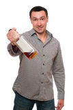 Man with a bottle of whiskey Royalty Free Stock Images
