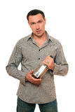 Man with a bottle of whiskey. Isolated Stock Photos
