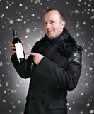 Man with bottle of wine Royalty Free Stock Photos