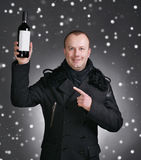 Man with bottle of wine Royalty Free Stock Photography