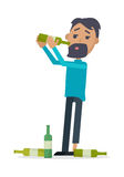 Man with Bottle of Wine Isolated on White. Vector Royalty Free Stock Images