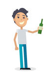 Man with Bottle of Wine Isolated on White. Vector Royalty Free Stock Photography