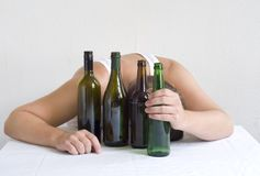 Man with bottles. Above space for text Royalty Free Stock Photos