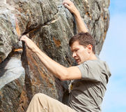 Man bouldering Royalty Free Stock Photo