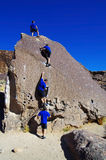Man bouldering series Royalty Free Stock Images
