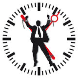 Man bound by time. A man bound by time on a clock, stress and work concept royalty free illustration