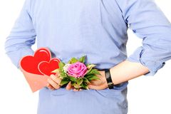 Man with Bouquet. And love Royalty Free Stock Images