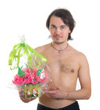 Man with a bouquet of artificial flowers isolated Royalty Free Stock Photo