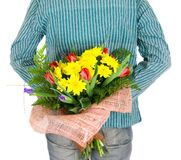 Man with Bouquet of flowers. Isolated Royalty Free Stock Images