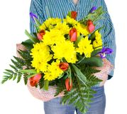 Man with Bouquet of flowers. Isolated Royalty Free Stock Photos