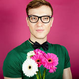 Man with a bouquet of flowers Royalty Free Stock Photos