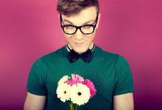Man with a bouquet of flowers Stock Photos