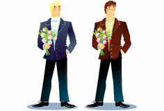 Man with a bouquet. Stock Photos