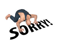 Man Bow Down Saying Sorry Illustration Royalty Free Stock Photography