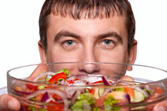 Man with a bowl of salad Royalty Free Stock Photo