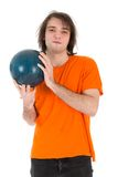 Man with bowling ball isolated on white Royalty Free Stock Photography