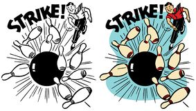 A Man Bowls a Strike royalty free illustration