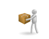 The man and box Stock Images