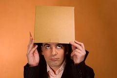 Man and Box. Business and finance series Royalty Free Stock Photos