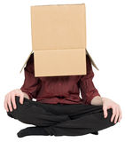 Man with a box on a head Royalty Free Stock Photography