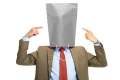 Man with a box on a head Royalty Free Stock Images