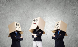 Man with box on head Stock Photography