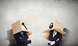 Man with box on head Royalty Free Stock Photos