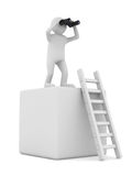 Man on box and staircase. 3D image Stock Images