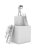 Man on box and staircase. 3D image Royalty Free Stock Image