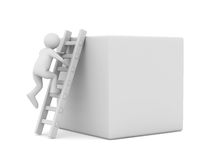 Man on box and staircase Stock Image