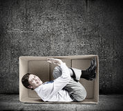 Man in box Royalty Free Stock Image
