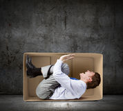 Man in box royalty free stock photos